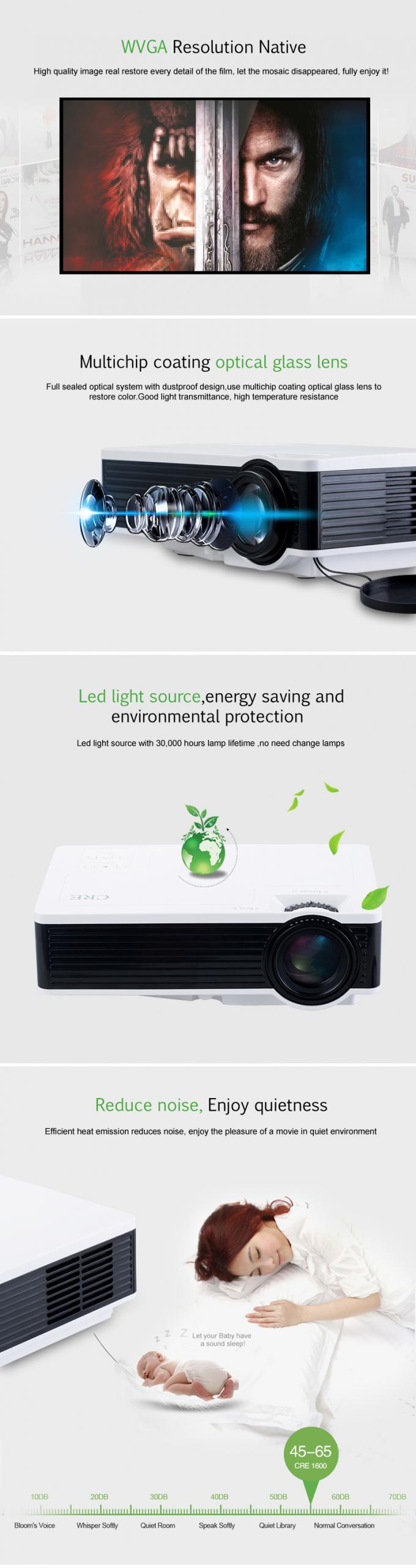4.0 Inch Single LCD Projector Home Theater , Home Video Projector Full Color